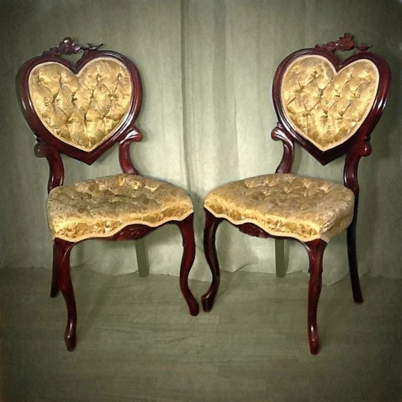 Lovey Antique Heart Back Chairs by OrangeNolive on Etsy