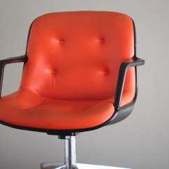 Orange Office Chair Reupholstering Dining Chairs Vintage Pollock Style Rolling Arm