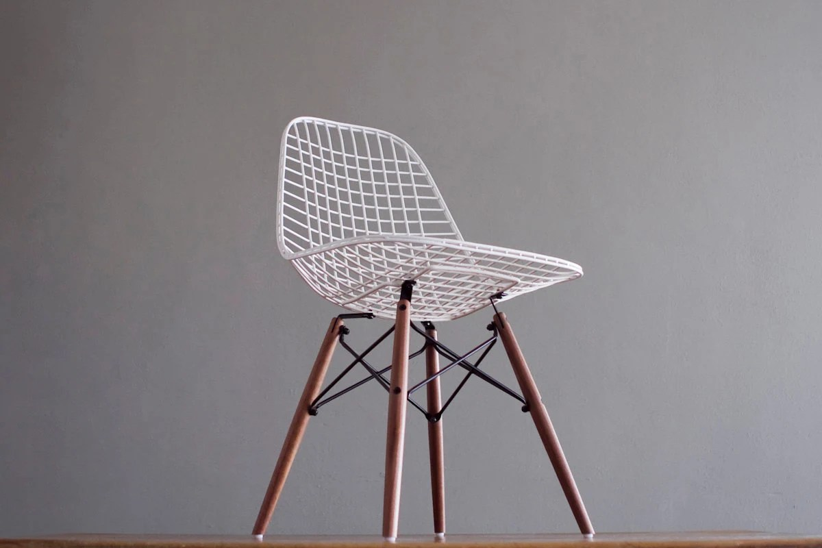 white wire chair reclining beach chairs eames dkw vintage side for herman by