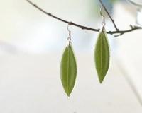 Real leaf earrings Green nature inspired earrings
