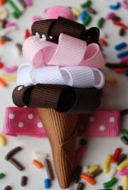 ice cream cone hair ribbon handmade