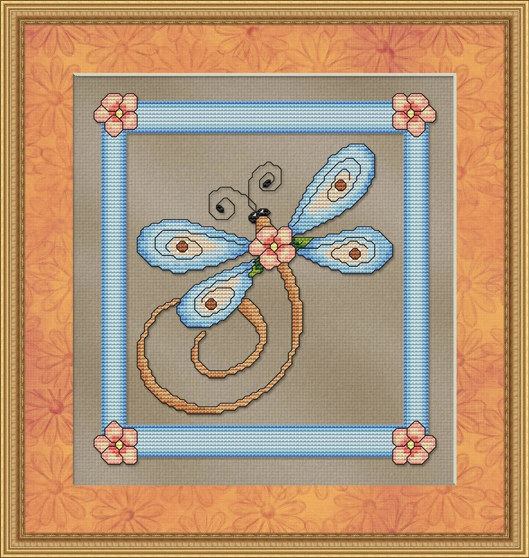 Blue Dragonfly Cross Stitch Pattern Fun Modern Design