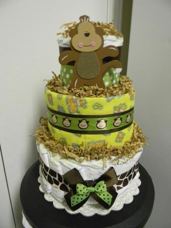 Jungle Theme Monkey Giraffe 3 Tier Diaper Cake Baby Shower