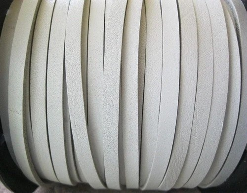 White Leather Cord 5MM Flat Belting Lace Jewelry Crafts 2