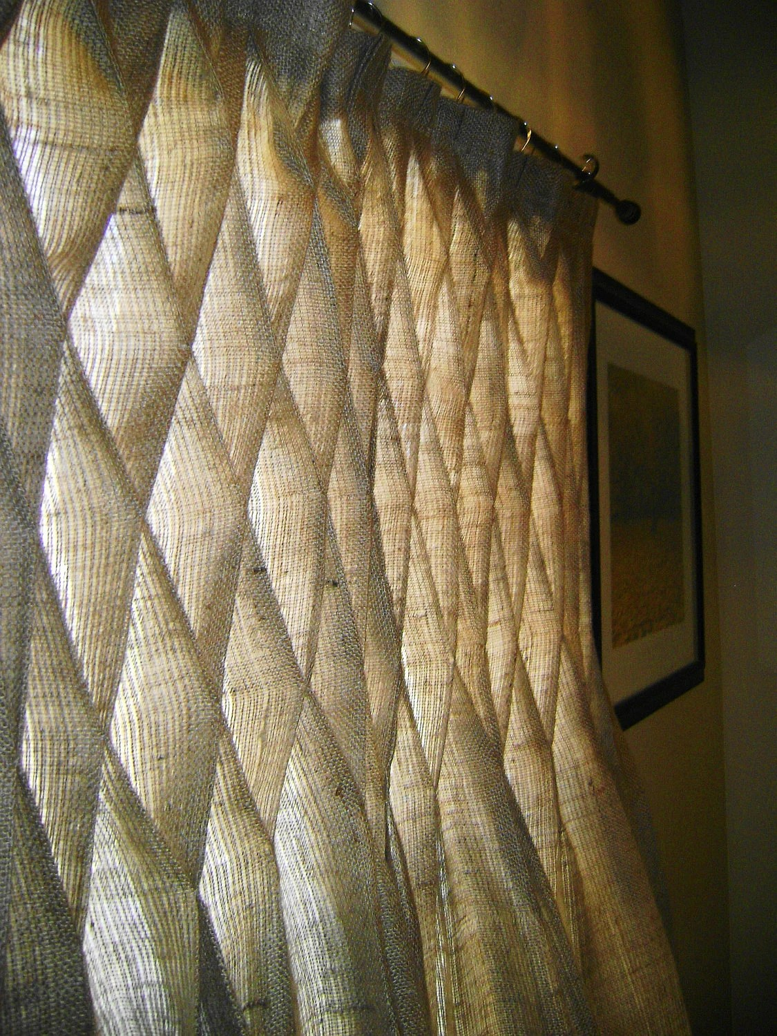 Items similar to Burlap Smocked Curtains  Drapes in