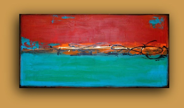 Turquoise And Red Abstract Acrylic Painting Urban Ii