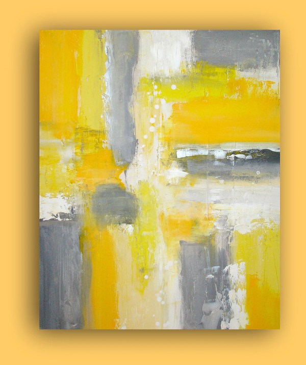 Yellow and Gray Acrylic Painting