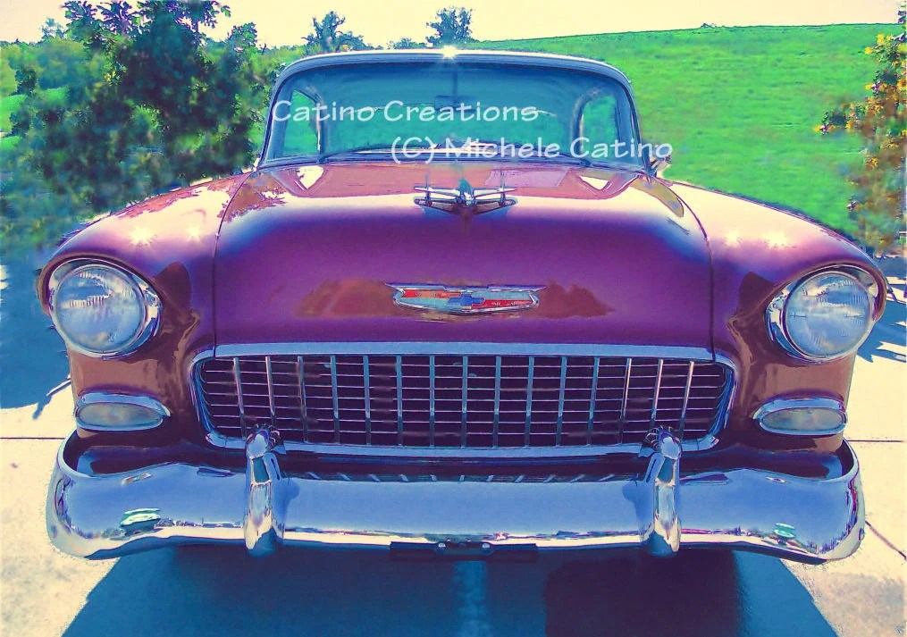 "1955 Bel-Air Cranberry Red with Chrome Headlights and Hood Ornament. Vintage look. Signed ""watercolor"" Photo Artwork. - CatinoCreations"