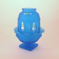 Fairy Lamp Westmoreland Blue Frosted Mist Glass