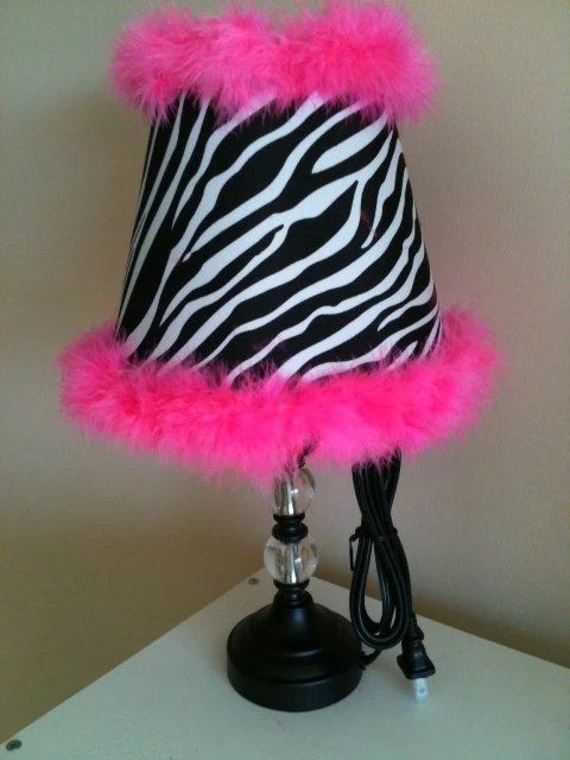 NEW Zebra Stripe and Hot Pink Boa Girls Bedroom Lamp  Shade
