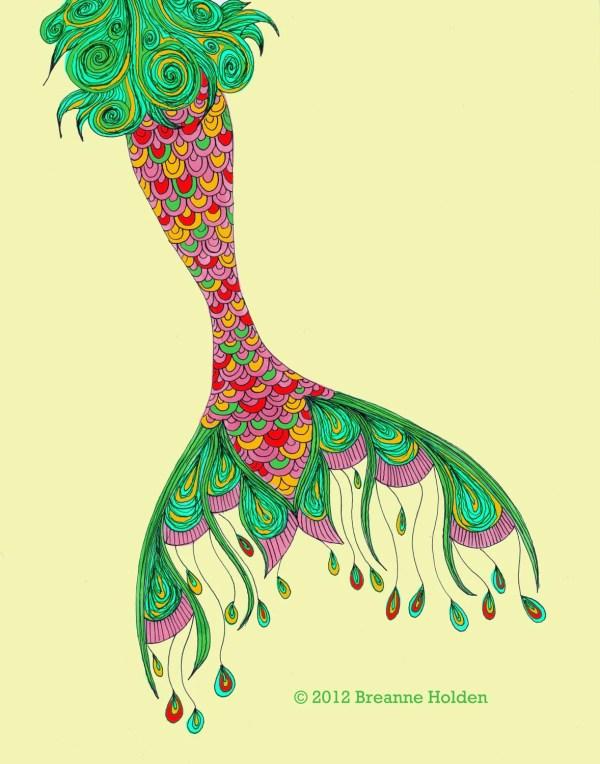 Whimsical Mermaid Tail Painting Illustration Breanneholden