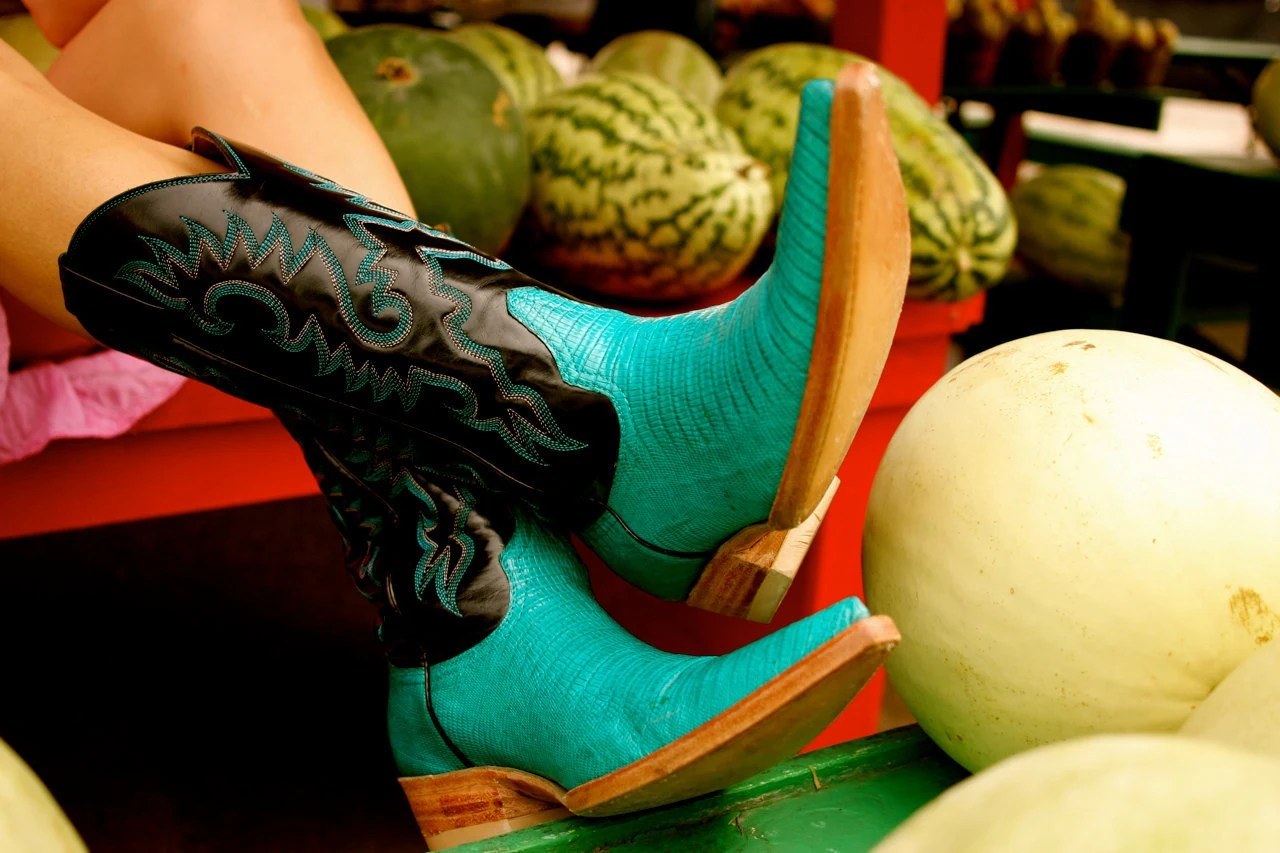 Custom Made  - The RIOJA COWBOY Boot - mod western mexicano style in turquoise lizard - delaCav