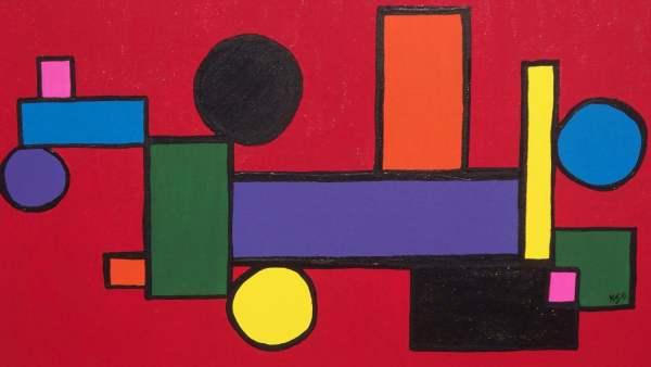 Train Wreck 14x18 Modern Abstract Art Canvas Kj11art