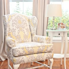 Grey Wing Chair How To Make A Wooden Beach Bedazzled Back Yellow And Linen