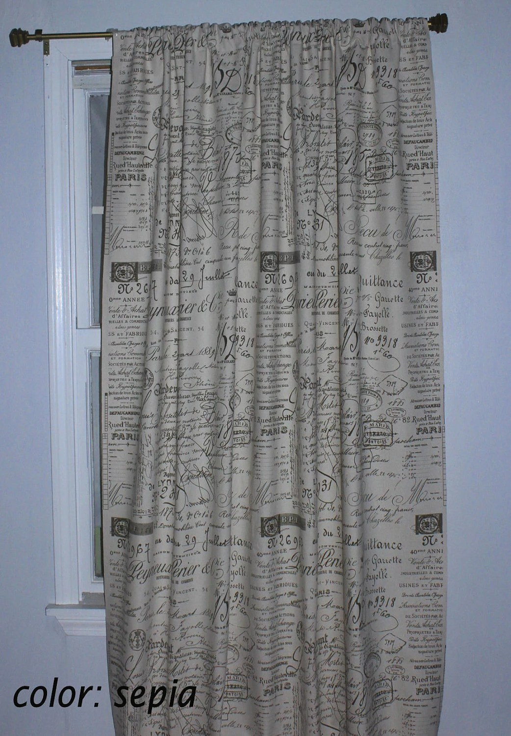 French Script Drapery Curtain Panel 4 Colors Various Sizes