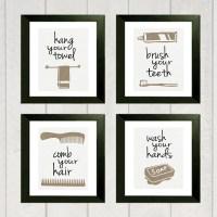 Bathroom Art Print Set of 4