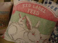 Rabbit Feedsack Pillow Cover Bunny Grain Sack Pillow Cover