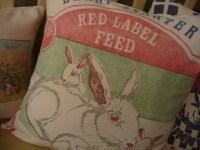 Rabbit Feedsack Pillow Cover Bunny Grain Sack Pillow Cover