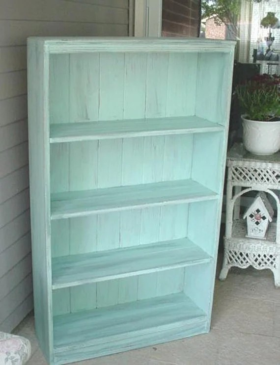 Vintage Bookcase Shabby Chic French Blue Aqua No2