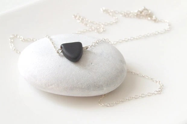 Black matte pendant necklace  - tiny black, matte triangle shaped  charm on sterling silver delicate chain - TwoCloudsJewelry