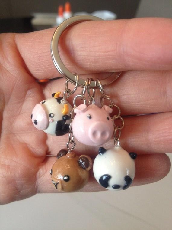 Items similar to Polymer Clay Farm Animals Keychain Pig Cow Bear Panda on Etsy