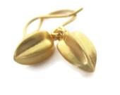 Gold Drop Earrings,  Small Seed Pod Dangle Earrings - SHERIBERYL