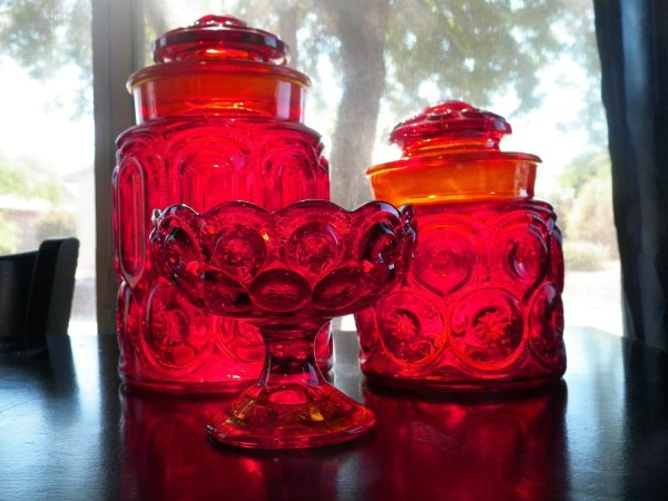 Antique Red Glass Canister Set And Candy Dish Le Smith Moon