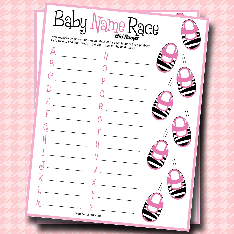 Baby Name Race Baby Shower Game Girl Zebra Theme Printable