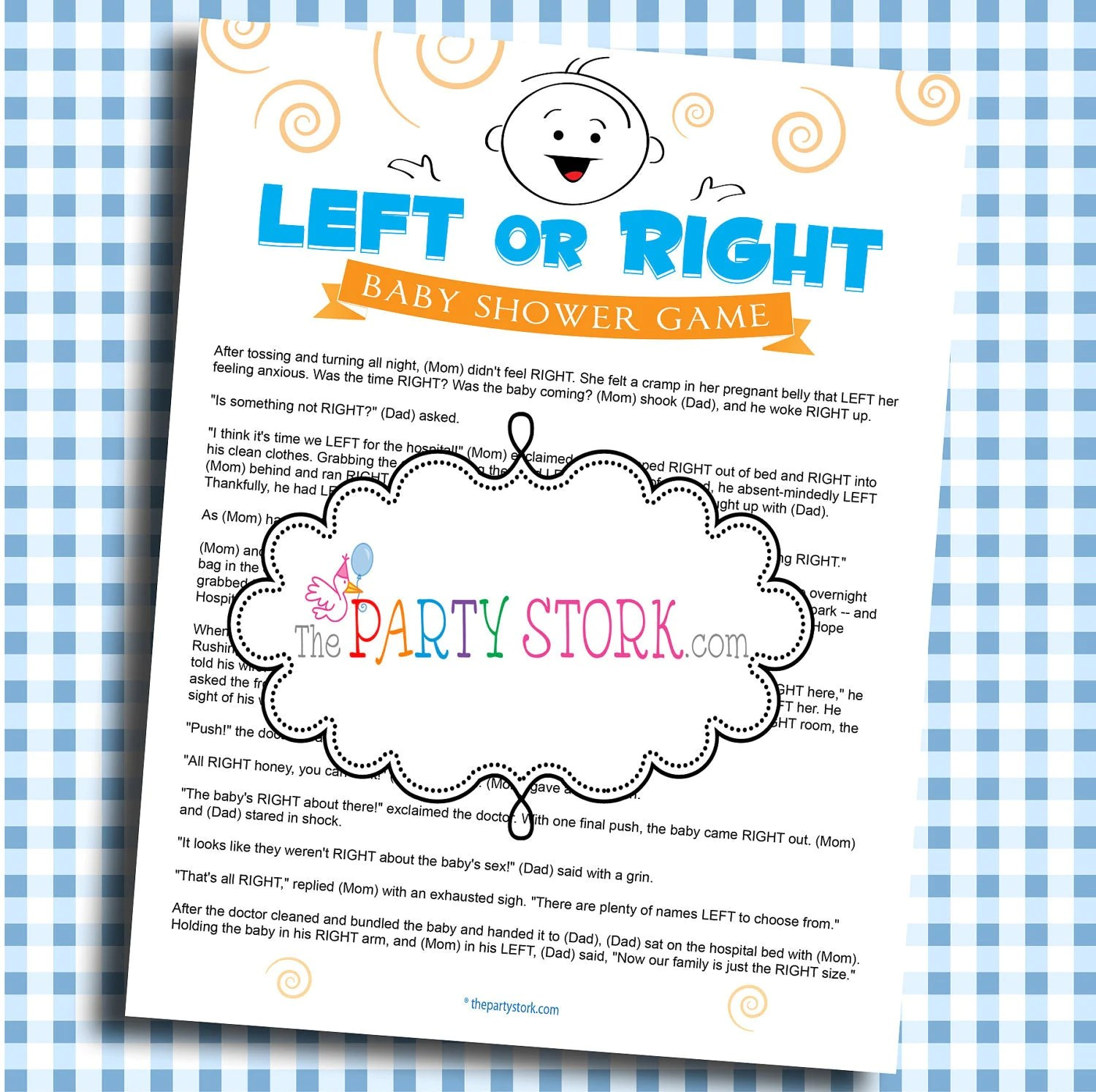 Printable Baby Shower Game Left Or Right Game Unique Fun