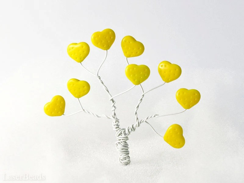 Large Bright Yellow Heart Beads 12mm (12)  Czech Opaque Glass Pressed Druk Love Day Tree - LaserBeads