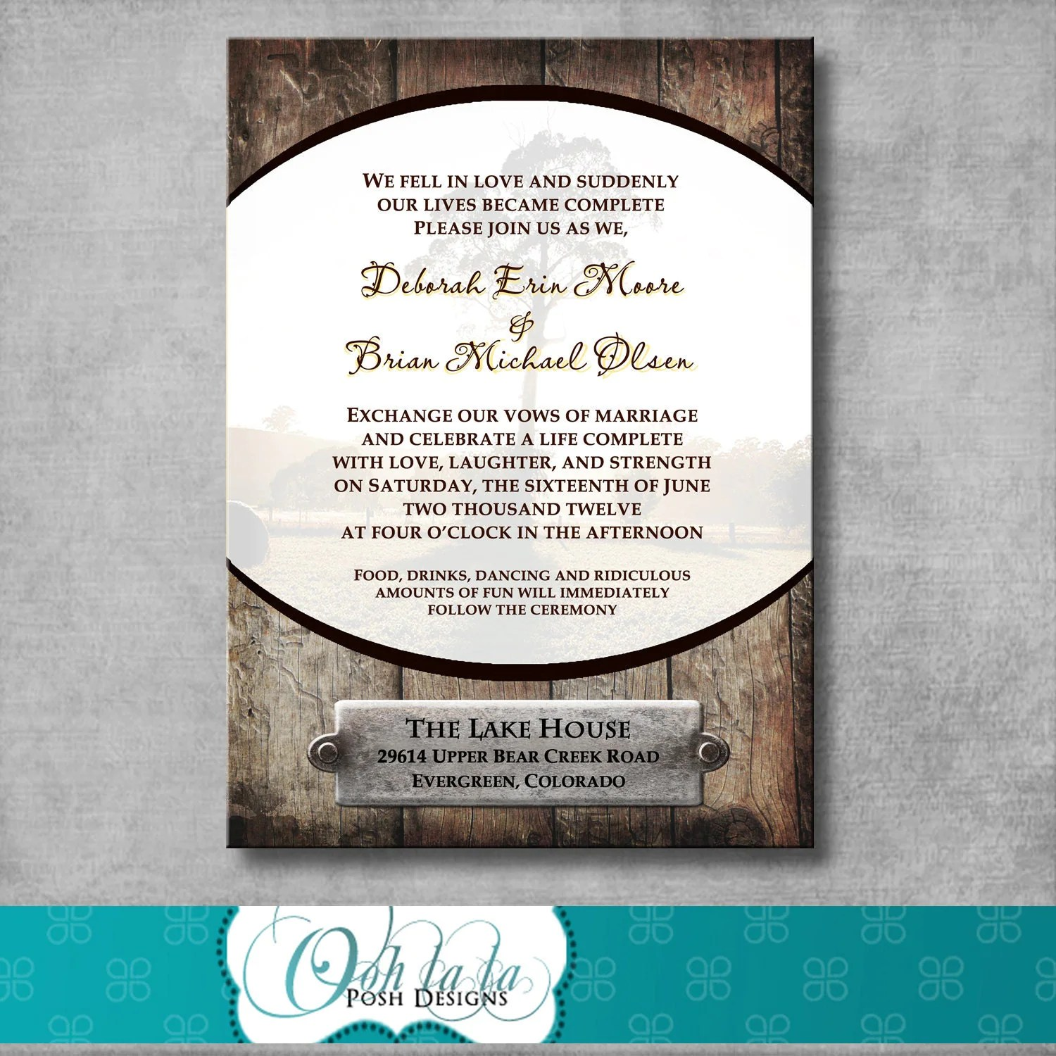 Printable Rustic Wedding Invitation DIY CUSTOMIZABLE
