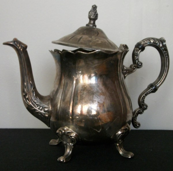 Vintage Silver Plated Tea Pot Patina Claw Foot Rustic Antique