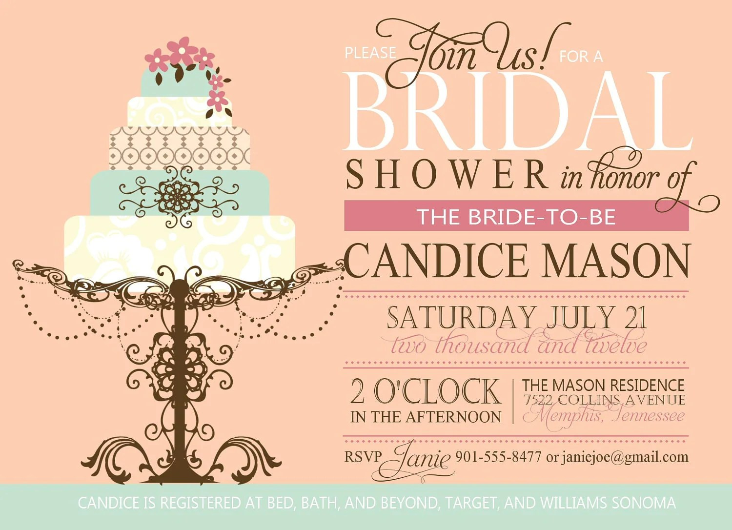 Bridal Shower Invitation custom printable digital