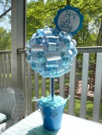 It's a Boy Baby Blue and White Ribbon Centerpiece Topiary