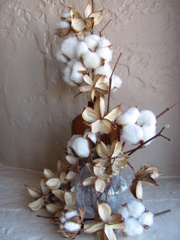 DIY Cotton Bolls Single Cotton Stem Use in by kansascottongirls