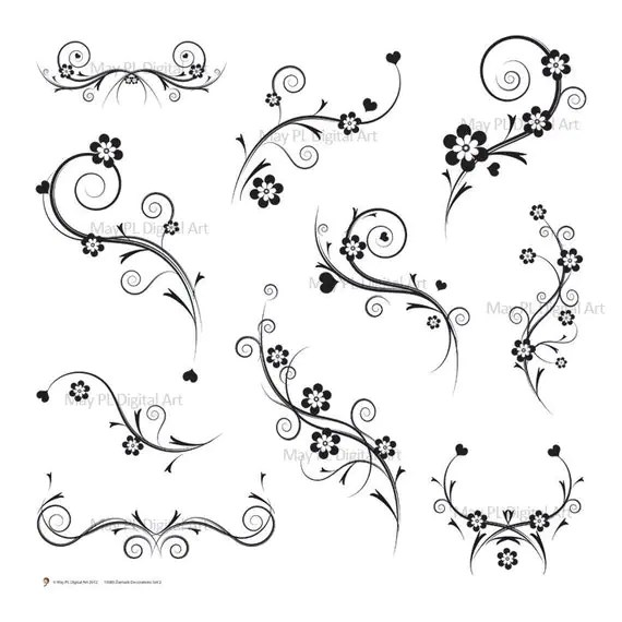Black and White Flourish Decorations Flourish by