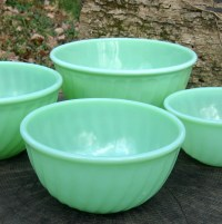 Vintage Fire King Jadite Mixing Bowls Set of 4 Green Swirl