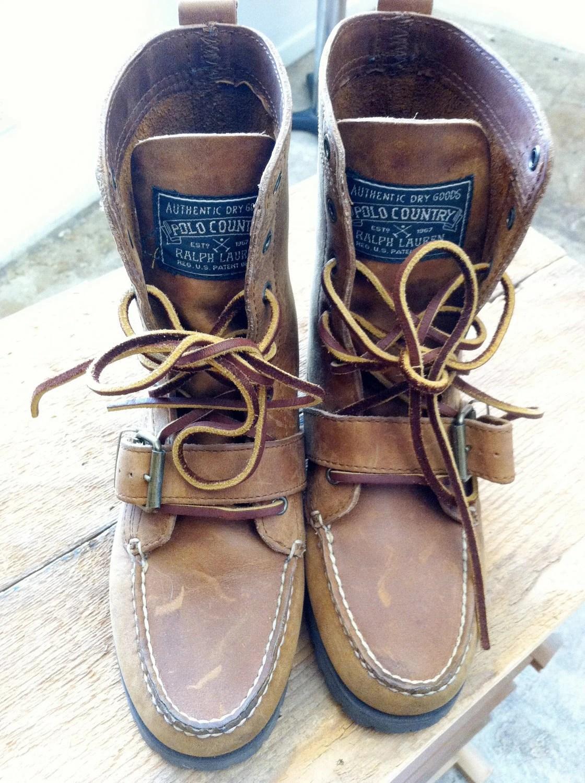 Vintage Polo Ralph Lauren Ranger Boots Brown Leather