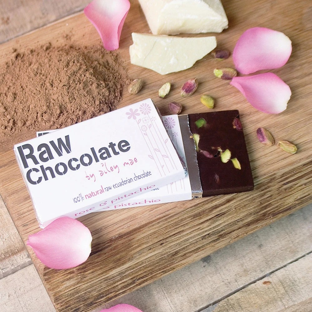 Rose and Pistachio Raw Chocolate Bar