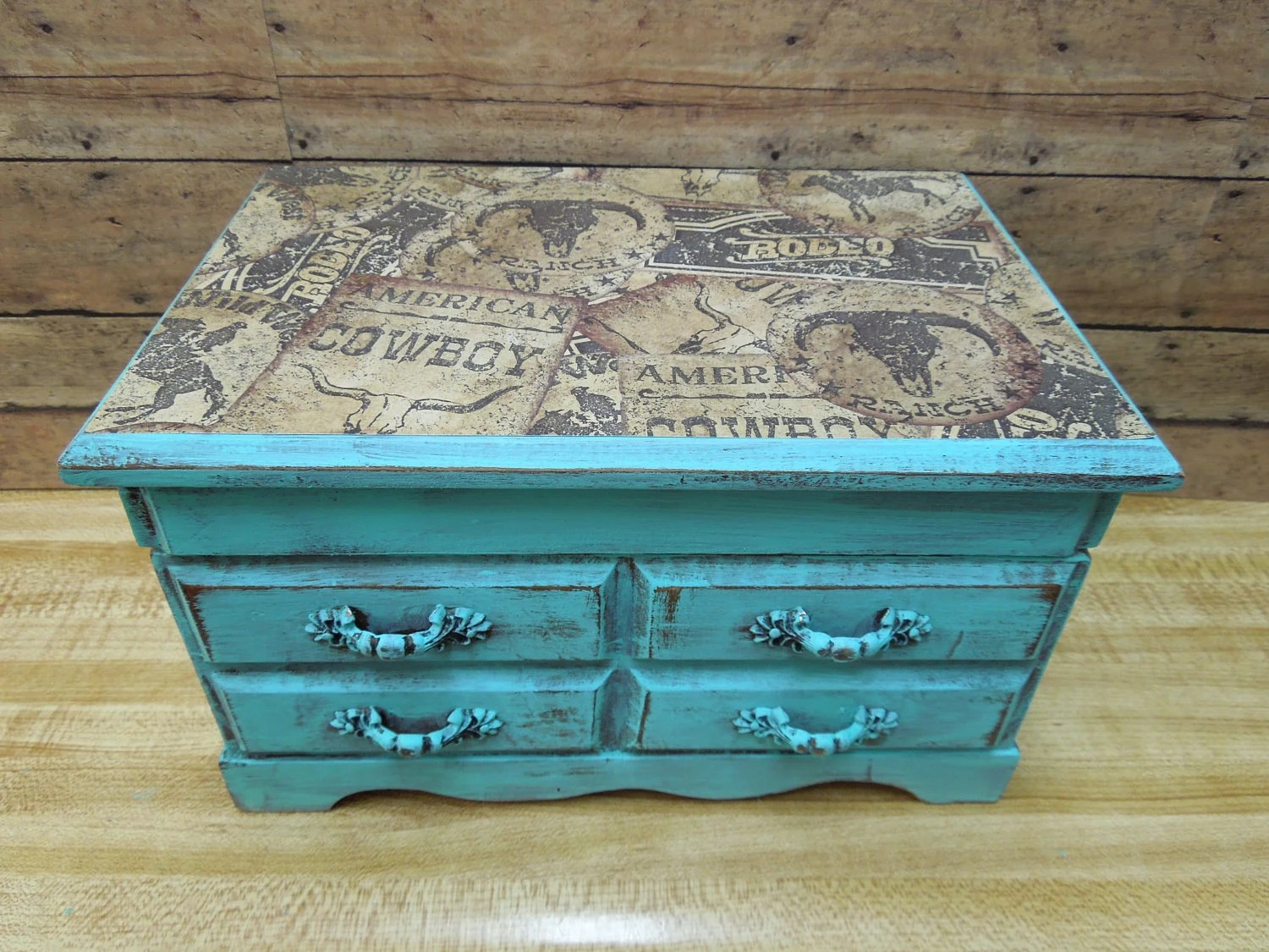 Items Similar To Wood Jewelry Box Distressed Painted