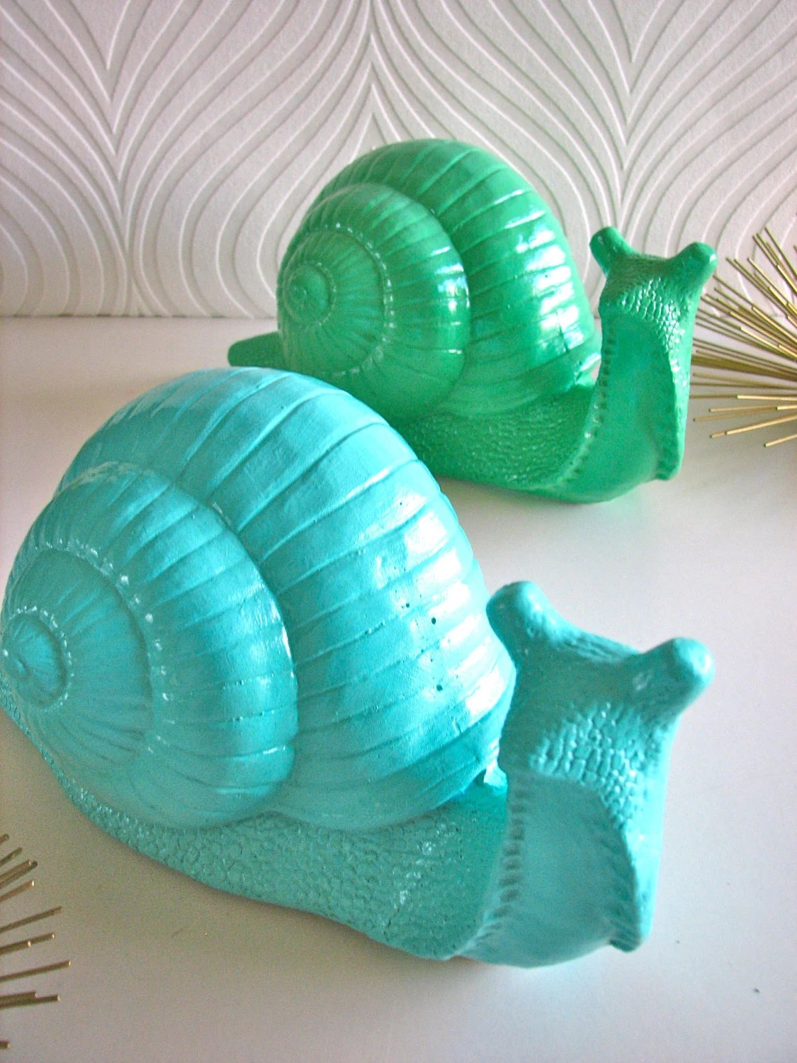 Giant Snail Statue: Soomie the Snail in a light aqua, (soap color).