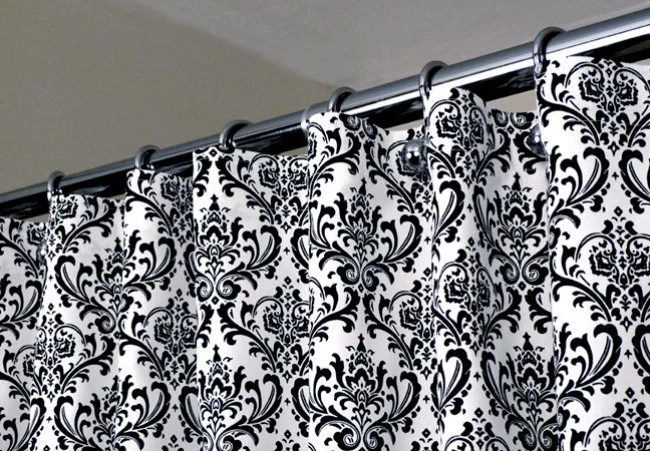 Items Similar To Damask Curtain Black & White Shower Curtain With