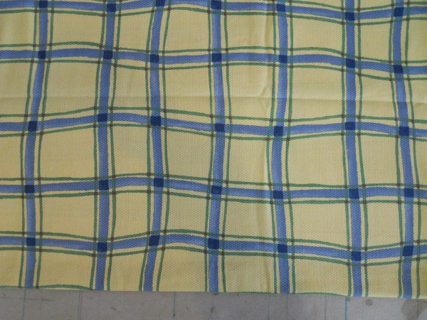 Plaid Cotton Fabric Yellow Blue White Green