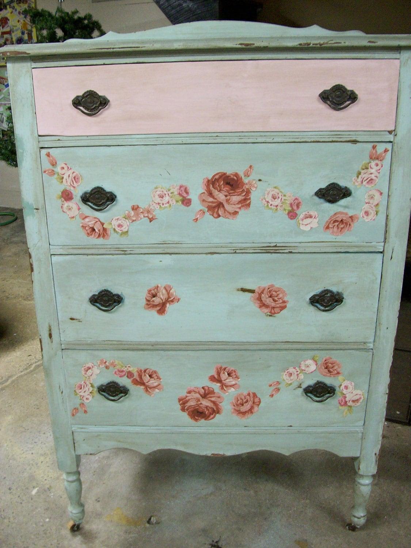 Shabby Aqua Pink Shabby Rose Decoupage Four Drawer Vintage