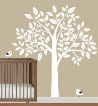 Nursery wall decal white Tree & with Birds Wall by fancywalls