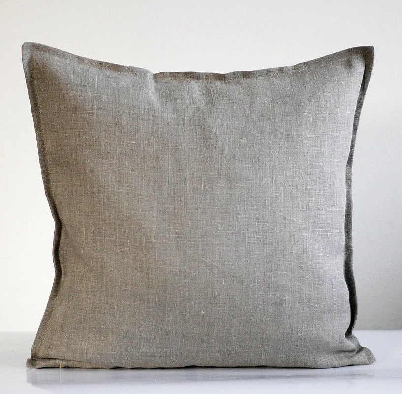 Linen pillow cover grey decorative covers throw pillows