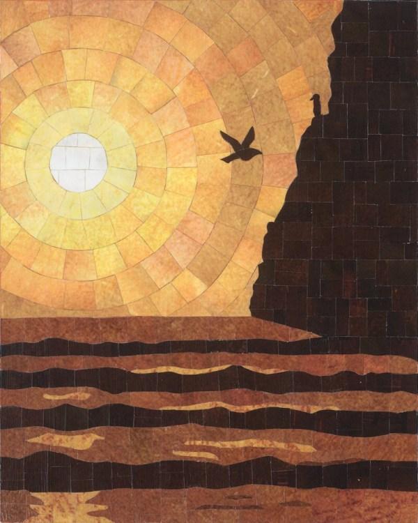 Haystack Rock Print Of Paper Mosaic Art Created