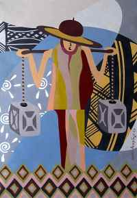 African Tribal Art on Canvas - Traditional African Wall ...