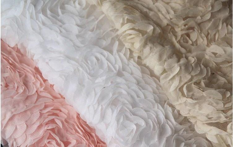 3D Rosette Fabrics Chiffon Lace Wedding Dress Fabric Supplies
