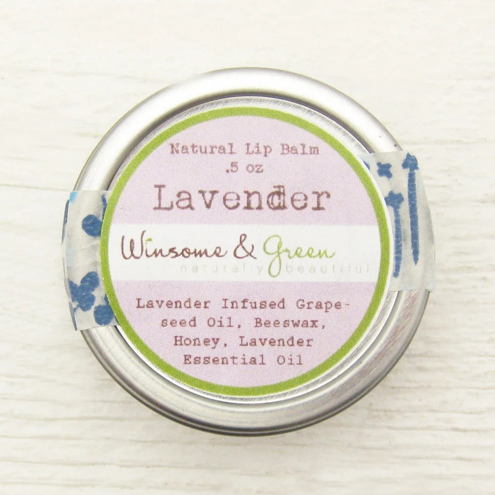 Natural Herbal Lip Balm - Lavender - Organic - Honey, Beeswax - Old Fashioned, Vintage Inspired, Romantic Gift Floral Spring Pastel - WinsomeGreen